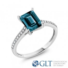LONDON BLUE TOPAZ YÜZÜK GLT SERTİFİKALI MY2610